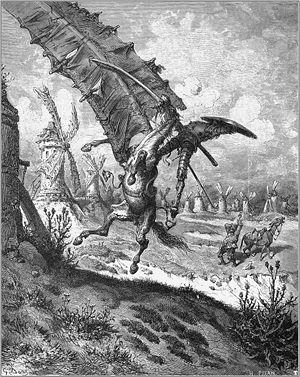 English: Don Quixote fighting a windmill on hi...