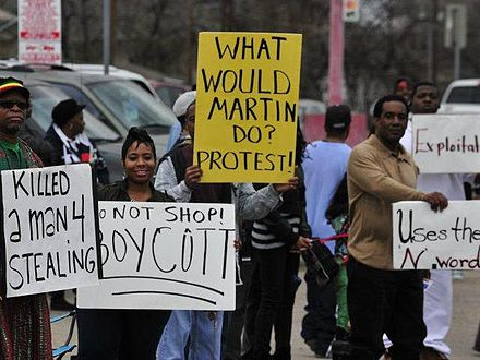 African-Americans in Dallas boycotting a Korean owned Kwik Stop in a mostly black community. Dontstopdontshop.JPG