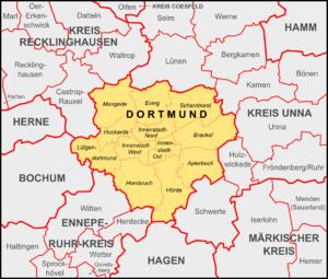 Dortmund Bezirke und Nachbargemeinden
