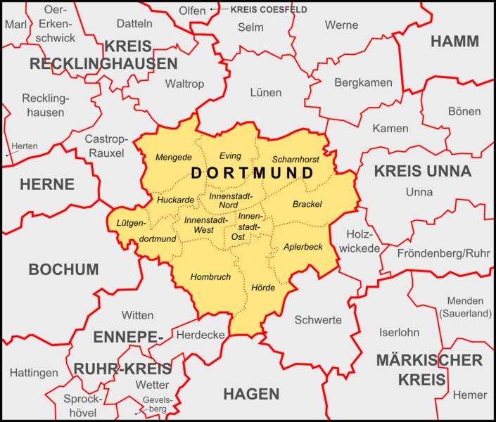 Datei:Dortmund Bezirke und Nachbargemeinden.png