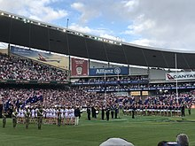 1571e824d08 Pre-match formalities taking place prior to the Dragons vs Roosters Anzac  Day clash in 2018.