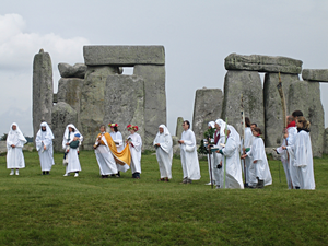 Neo-Druidism - A group of Druids at Stonehenge in Wiltshire, England.