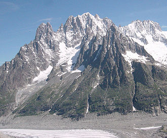 Aiguille du Dru - The Aiguille du Dru (left) seen as an extension of the west ridge of the Aiguille Verte (centre top)