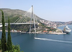 Dubrovnik bridge of Franjo Tuđman and the Port of Gruž