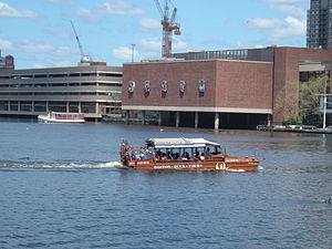Duck boat cruising near Boston Science Museum.agr.JPG