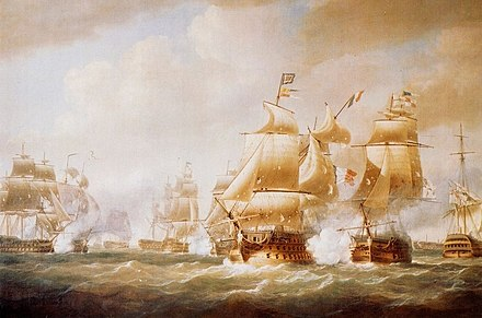 The battle of Santo Domingo (1806) painted by Nicholas Pocock in 1808 Duckworth's Action off San Domingo, 6 February 1806.jpg