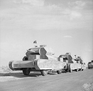 Dummy tank - Dummy tanks, mounted on trucks, going to the forward areas in the Western Desert, 13 February 1942