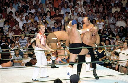 Rhodes performing his finishing maneuver, the bionic elbow, in 1979 Dusty Rhodes Bionic Elbow 2.jpg