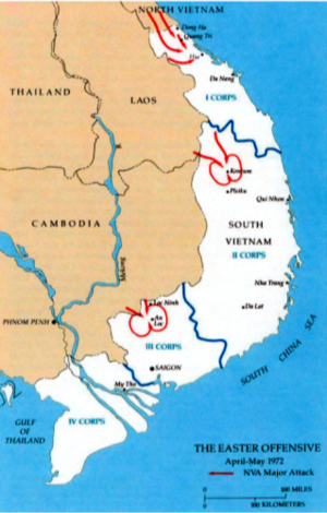 1972 in the Vietnam War - A map of the 1972 Easter Offensive in South Vietnam.