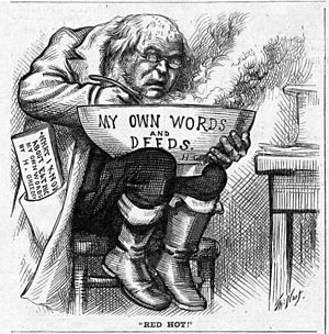 Horace Greeley presidential campaign, 1872 - Thomas Nast cartoon for the 1872 campaign alleging that Greeley was contradicting his earlier positions.
