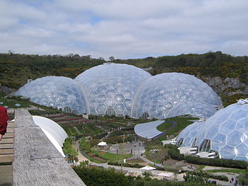 The Eden Project, Established In 2000 In Cornwall, England, Includes A  Modern Botanical Garden Exploring The Theme Of Sustainability.