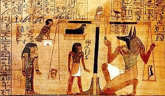 Book of the Dead - A vignette in The Papyrus of Ani, from Spell 30B: Spell For Not Letting Ani's Heart Create Opposition Against Him, in the Gods' Domain, which contains a depiction of the ba of the deceased