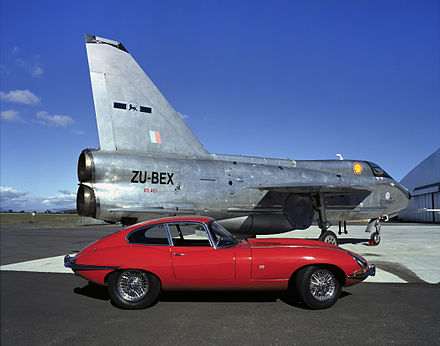 ZU-BEX Electric Lightning T5, alongside a vintage Jaguar, at Thunder City, Cape Town, South Africa, 2002 - English Electric Lightning
