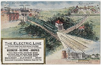 Washington, Baltimore and Annapolis Electric Railway - A postcard advertising the electric railroad service from the Democratic Convention of 1912.