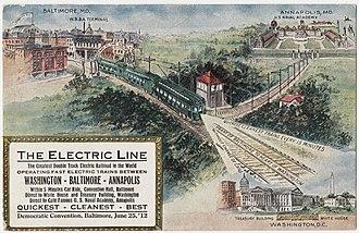 Washington, Baltimore and Annapolis Electric Railway - Image: Electric railroad from Baltimore, Maryland to Annapolis, Maryland and Washington DC, circa 1912