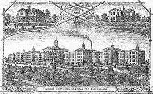 Elgin, Illinois - Historic print of Main Building of Elgin State Hospital, demolished in 1993