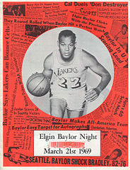 "Okładka programu klubu Los Angeles Lakers na ""Elgin Baylor Night"" (21 marca 1969)"