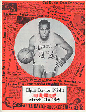 "Elgin Baylor - The cover of the Los Angeles Lakers program for ""Elgin Baylor Night"" on March 21, 1969"