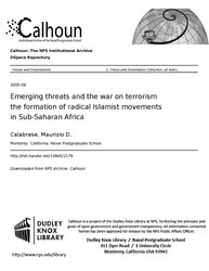 Emerging threats and the war on terrorism the formation of radical Islamist movements in Sub-Saharan Africa