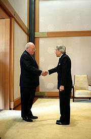 The emperor with U.S Vice President Dick Cheney in 2007