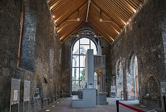 Ennis Friary - Newly roofed nave with exhibit