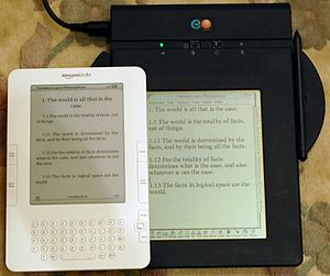 EO Personal Communicator - Comparison of the EO 440 Personal Communicator (1993) and the Amazon Kindle 2 e-book reader (2009). Both have reflective displays (no backlight). The EO has liquid crystal display, the Kindle an electrophoretic one.