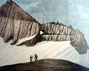 Glarus thrust - Drawing of the Glarus thrust in the Tschingelhörner by Hans Conrad Escher von der Linth, 1812.