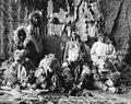 Eskimo men wearing ceremonial dress for Wolf Dance of Kayiagamutes, Alaska, between 1910 and 1920 (AL+CA 4926).jpg
