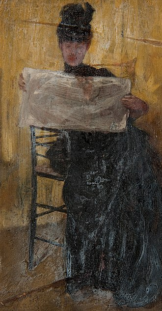 Beatrice Whistler - Ethel Philip reading a newspaper by Beatrix Whistler