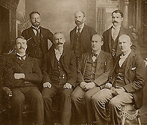 Eugene V. Debs - Rogers, Elliott, Keliher, Hogan, Burns, Goodwin, and Debs – the seven ARU officers jailed following the loss of the 1894 Pullman strike.