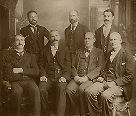 Rogers, Elliott, Keliher, Hogan, Burns, Goodwin and Debs, the seven ARU officers jailed following the loss of the 1894 Pullman Strike Eugene Debs Martin Elliott 300.jpg