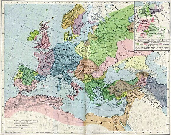 Europe and the Mediterranean Sea in 1190 Europe mediterranean 1190.jpg