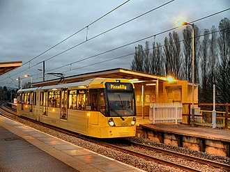 Radcliffe tram stop - Image: Evening Tram at Radcliffe Metrolink station