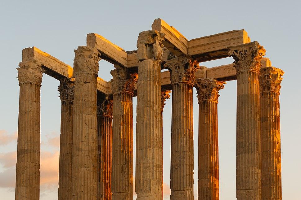 Evening columns Zeus temple Athens