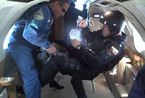Reduced-gravity aircraft - Ecuadorian crew in weightlessness.