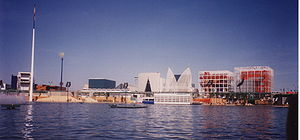 Seville Expo '92 - Panorama of the pavilions on the Lago de España at Expo'92 Seville.