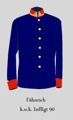 Imperial and Royal Infantry - Ensign  German infantry (facings: amaranth red)