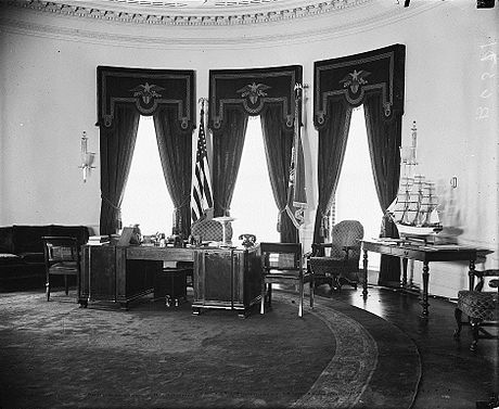 The newly built FDR Oval Office in 1934. FDR Oval Office in 1934 LOC37952v cropped.jpg