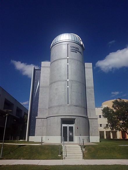 The Stocker AstroScience Center (ASTRO) boasts a 24-inch, computerized research grade telescope with dual filter wheels and research grade CCD cameras. FIU Stocker AstroScience Center.jpg