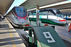 Rail transport in Italy - FS ETR 500 in the Firenze S.M.N. station
