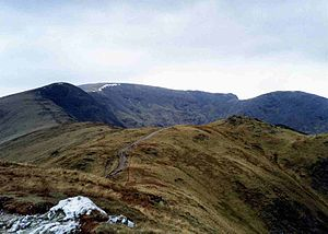 Fairfield horseshoe - Part of the Fairfield Horseshoe seen from Heron Pike with Great Rigg, Fairfield and Hart Crag in view.