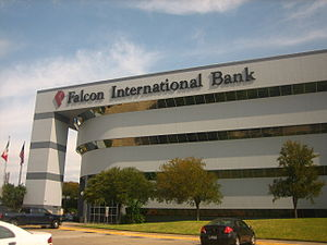 Falcon International Bank - Falcon International Bank headquarters is a modern 4-story building at the intersection of McPherson and Hillside in Laredo, Texas.