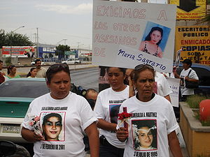 Female homicides in Ciudad Juárez - 2007 protest by some victims' families demanding punishment of the killers