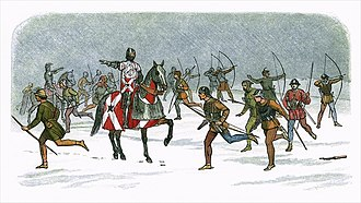Battle of Towton - Yorkist leader William Neville (atop horse) and his archers took advantage of the wind to inflict early damage on the Lancastrians – 19th century drawing
