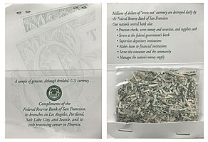 Fed Shreds as souvenir from the Federal Reserve Bank of San Francisco