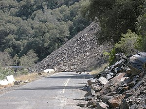 Obstacle - Obstacle to traffic caused by the Ferguson landslide in the state of California (USA)