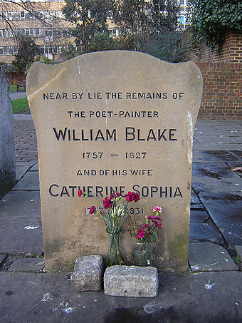 Headstone in Bunhill Fields, London, erected on Blake's grave in 1927 and moved to its present location in 1964-65 Finsbury bunhill blake 1.jpg