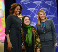 First Lady Michelle Obama and Deputy Secretary Higginbottom With 2014 IWOC Awardee Dr. Nasrin Oryakhil of Afghanistan.png