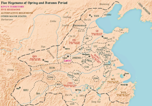 Eastern Zhou Period - Map of the Five Hegemons during the Spring and Autumn period of Zhou Dynasty