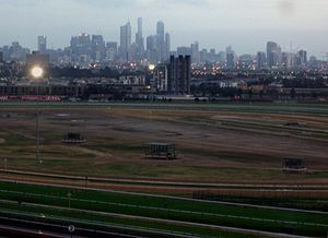 Flemington, Victoria - Flemington Racecourse in 2007, looking south-east toward Melbourne's city centre